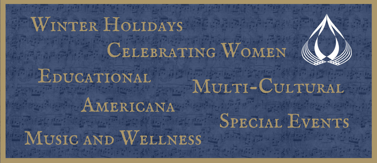 winter holidays, celebrating women, educational, multi-cultural, americana, special events, music and wellness graphic