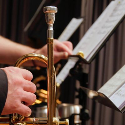 trumpet and music stand photo