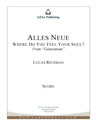 Alles Neue Where Do You Feel Your Soul? Score Cover