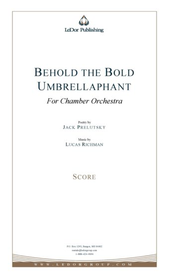 behold the bold umbrellaphant for chamber orchestra score cover