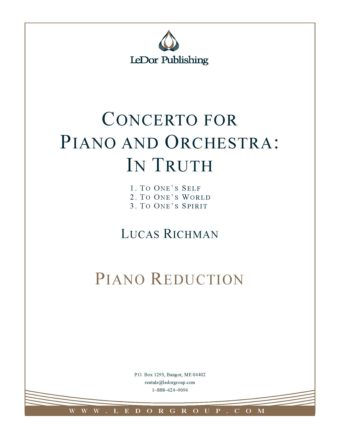 concerto for piano and orchestra: In truth piano reduction cover