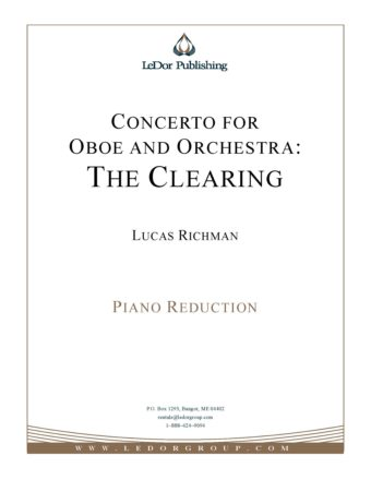 concerto for oboe and orchestra: the clearing piano reduction cover